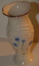 LENOX CORNFLOWER BLUE BUD VASE PORCELAIN PINK ROSEBUDS GOLT GILT RIM MIN... - $14.99