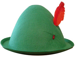 Forum Novelties Men's Alpine Hat with Feather, Green/Red, One Size - $30.17