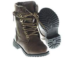 Baby Toddler Girls Leather P/U Combat Boots Lace Up Fall and Winter Shoe... - $35.64