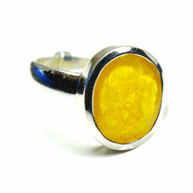 Natural Yellow Sapphire Silver Ring 4 Carat Oval Birthstone Adjustable S... - $43.75