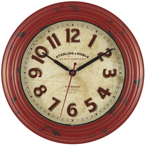 "Red Distressed Art Deco 12"" Round Wall Clock Arabic Numerals Modern Rust... - $22.66"