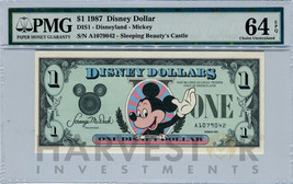 1987 Disney Dollar - First Day Issue First Year Issue - Pmg 64 Epq - Choice Unc - $199.99