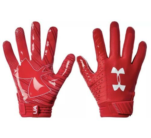 Under Armour UA Spotlight NFL Football Receiver Gloves 1326218 Red Mens Large  - $34.30