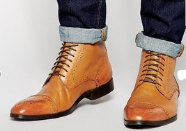 Handmade Men's Brown High Ankle Lace Up Heart Medallion Leather Boots image 1