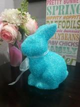 Easter Spring Styrofoam Turquoise Bunny Rabbit Figurine Tabletop Decor NEW - $16.99