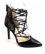 Jessica Simpson Cynessa Black Leather Lace Up Dress Pointy Pumps Size 5.5 - $53.20