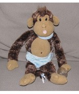 "Aurora Cheeky Monkey Baby Boy Blue Plush 12"" with Diaper Bib & Pacifier Toy - $28.21"