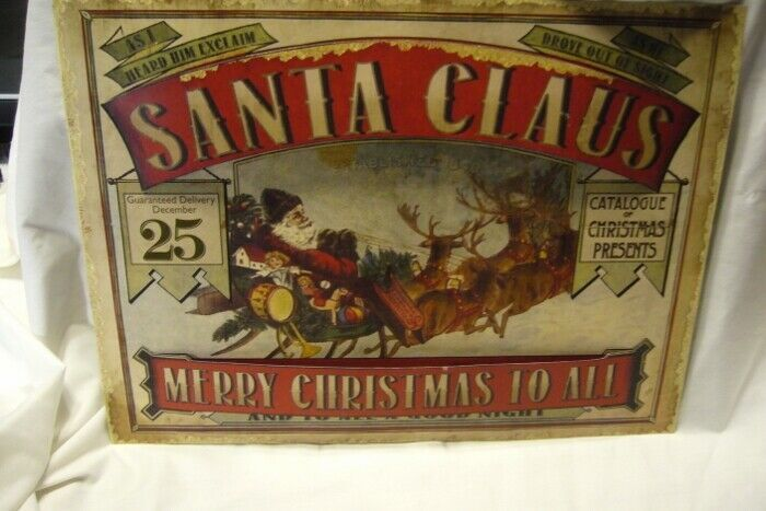 Bethany Lowe Vintage Santa Claus Tin Sign