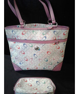 Coach Chelsea Pink Multicolor Logo Tote Purse & Pouch- Rare - $149.00