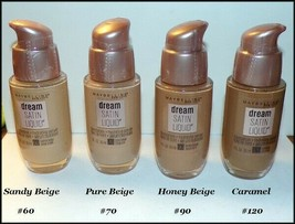 Maybelline Dream Satin Liquid Foundation #60 #70 #90 #120  Free Foundati... - $11.00