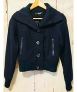 New Bomber Jacket Wool Blend Button Closure Navy Blue Womens Small White... - $47.91