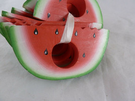 """Watermelon Wooden Napkin Rings Lot of 10 with seeds 4.5"""" wide - $19.79"""