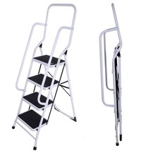 Heavy Duty Foldable 4 Step Ladder With Safety Handrail Non Slip Steps Steel - $62.13