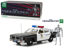 THE TERMINATOR 1977 DODGE MONACO POLICE W/ T-800 FIGURE 1/18 BY GREENLIG... - $89.95