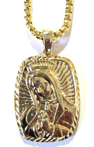 "Hip Hop 14K Gold Plated Praying Mary Jesus Necklace with 36"" Deluxe Box ... - $11.29"