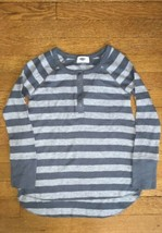 ! old navy gray stripe waffle knit henley long sleeve tee shirt medium 8... - $4.51