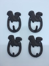 4 Cast Iron Cowboy BOOTS Wall Coat Key Towel Hooks Rustic Antique Countr... - $17.75
