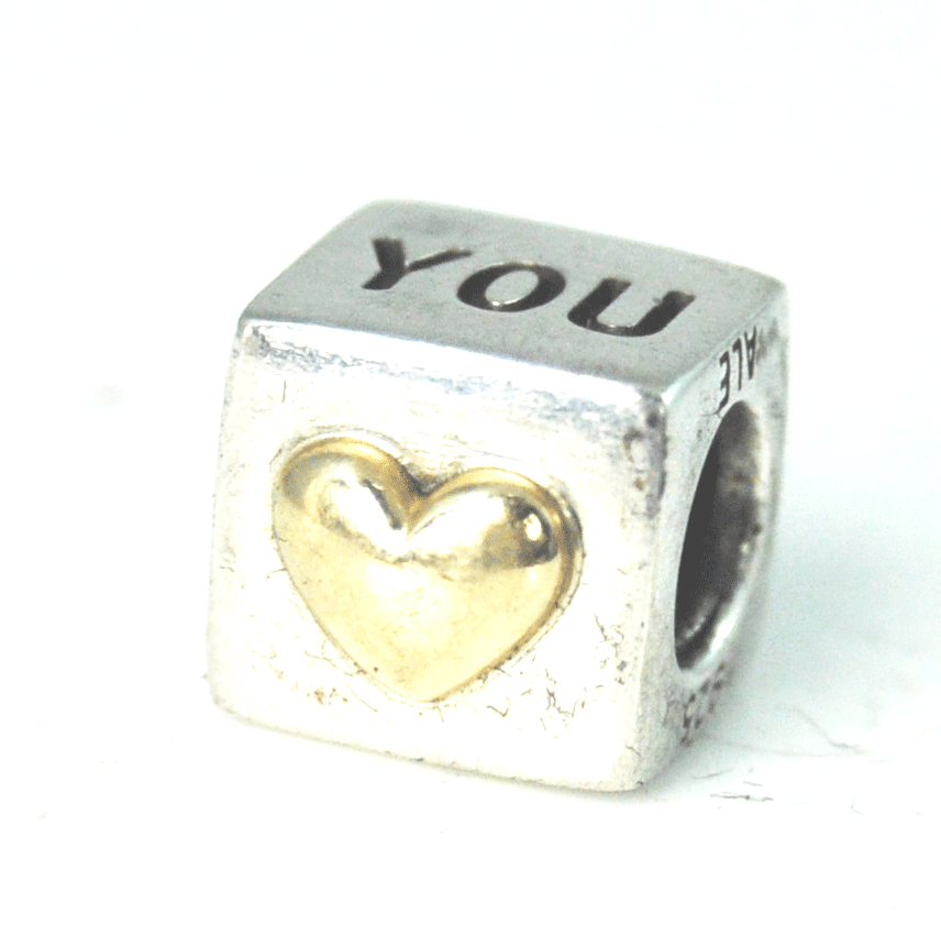 Pandora Sterling Silver 925 I Love You Bead Box Gold Heart Charm 790200 Retired