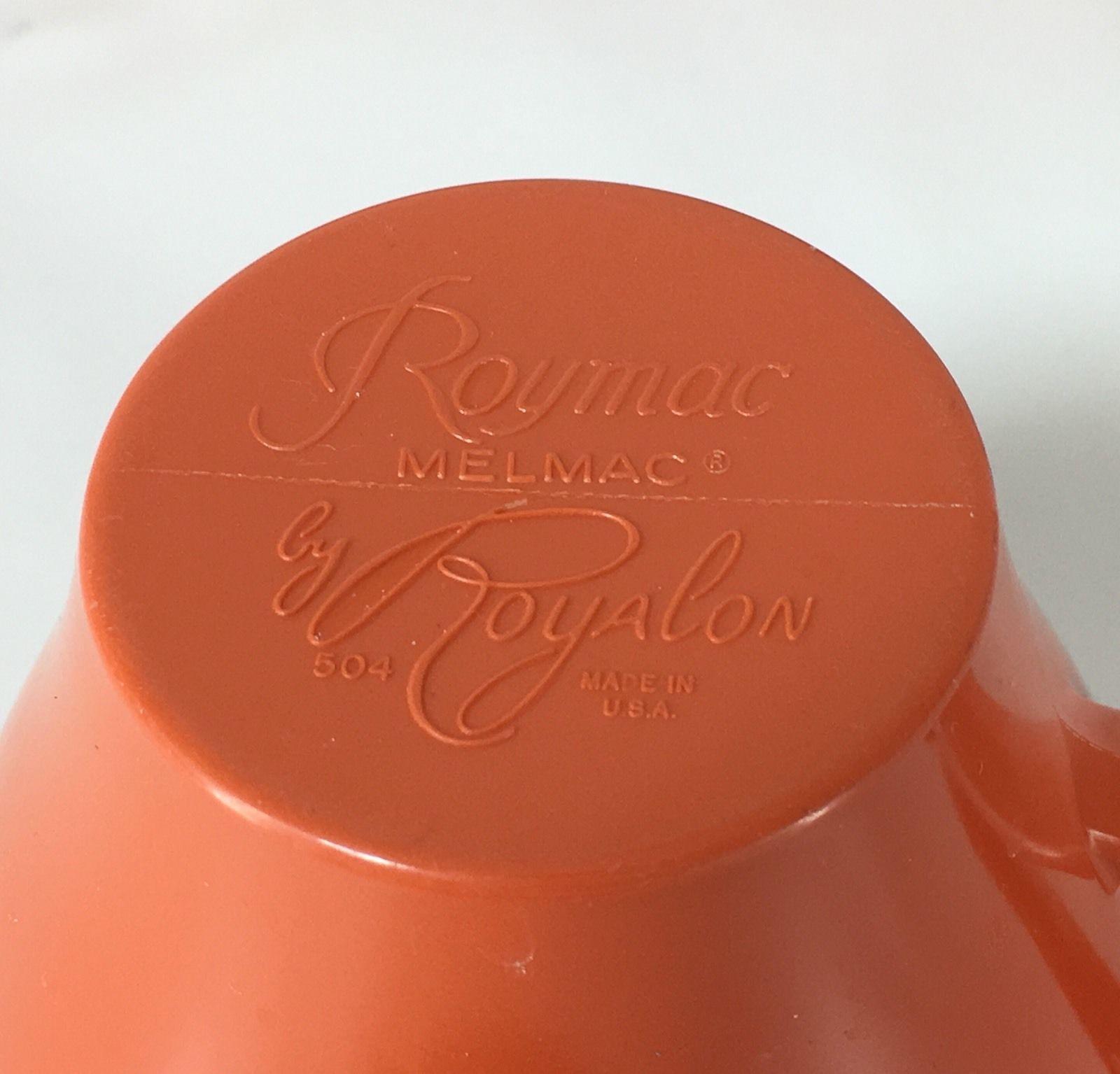 Vintage Royalon Roymac Melmac Coffee Cups 504 Orange Set of 3 Made In The USA