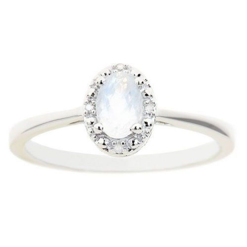 Primary image for MOONSTONE DIAMOND HALO ENGAGEMENT RING OVAL SHAPE 925 STERLING SILVER .55 CARATS