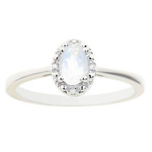 MOONSTONE DIAMOND HALO ENGAGEMENT RING OVAL SHAPE 925 STERLING SILVER .5... - £79.48 GBP