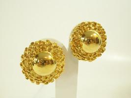 PREMIER DESIGN Domed Gold Plate Clip on Earrings Wide Nugget Frame Estate - $16.82