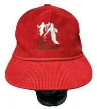 Vintage Rocky Mountains Red Corduroy Hat Banff Lake Louise Canada Cap Fa... - $48.99