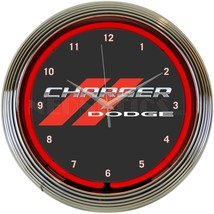 "Dodge Charger Car Garage Red Light Neon Clock 15"" by 15"" - $69.00"