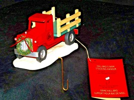 Hall Bro's Farm Red Antique Truck Christmas Stocking Hanger Decor AA19-1586 Vin
