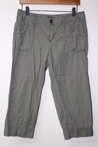 W10627 Womens Calvin Klein J EAN S Olive Green Cotton Cropped Pants Capris Sz 8 - $12.60