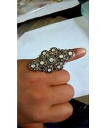 Valentine Sale!! Polki Rose cut diamond 925 silver Victorian Inspired Ri... - $240.98