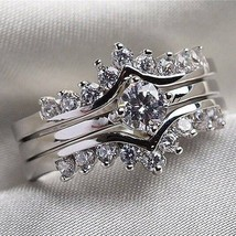 Cocktail Wedding Silver Color Cz Ring Sz 9 Unisex Fashion Jewelry New image 2
