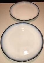 "2 Sango Concepts 4942 Eggplant 11"" Dinner Plates Bluish Purple White - $18.99"