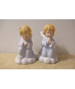Ceramic Praying Angel Candle Holder Set, Set of 2 Porcelain Praying Angels - $14.50