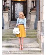 Mustard yellow knee length high elastic waist pleated women skirt spring... - $28.00