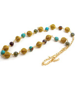 Long Beaded Necklace, Beads of Golden Grass, Blue magnesite, Dragon bloo... - $38.40