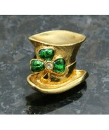 VTG Avon Leprechaun Hat Lapel Pin Brooch Rhinestone Gold Color St. Patrick's Day - $11.63
