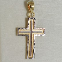 CROSS PENDANT YELLOW GOLD WHITE 750 18K, SQUARED AND CARVED, MADE IN ITALY image 1