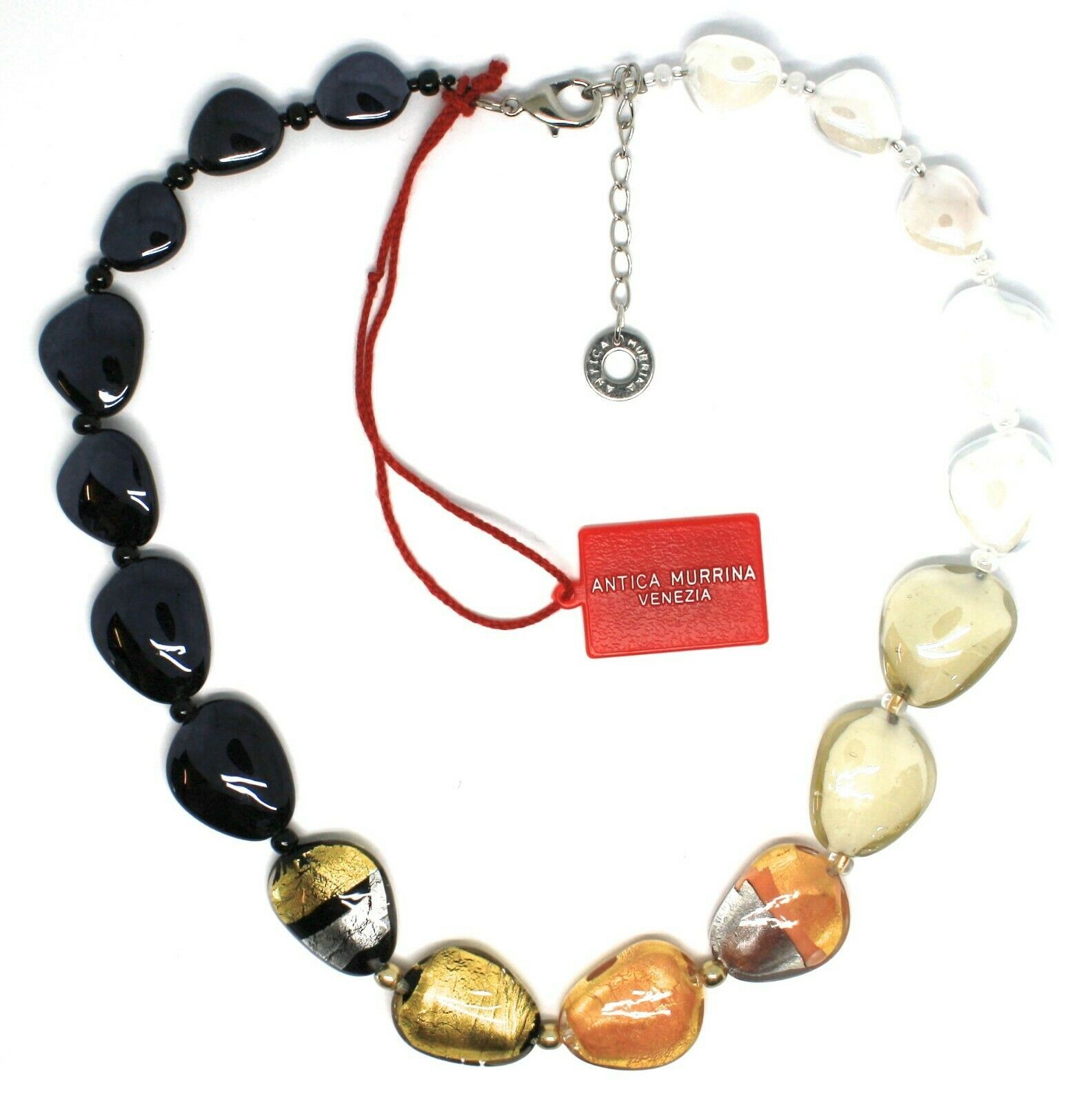 Necklace Antica Murrina Venezia, Glass Murano, White Black, Leaf Gold, COA13A15