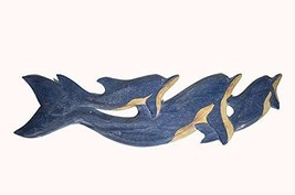 """WorldBazzar 28"""" Long Hand Carved Blue White WASH Wood Dolphin Wall Art Hanging T - $34.59"""