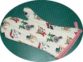 The Best Quilted Oven Mitts & Pot Handles on eBay!! Christmas Print Cats - $7.50