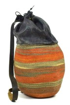 Vtg Leather & Woven Straw Beach Bag 1 Shoulder Backpack Satchel Purse Dr... - $29.69