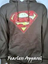Dc Comics Superman Wappen Schild Distressed Logo Kapuzenpullover Sweatshirt M L - $41.92