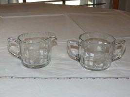 Etched glass creamer and Sugar Bowl Set clear glass - creamer has chips - $15.96