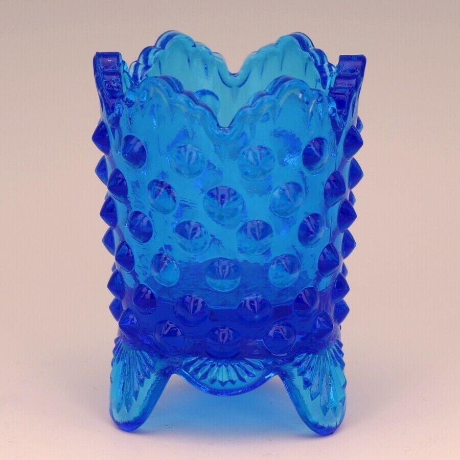 Vintage Fenton Art Glass Colonial Blue Hobnail Toothpick