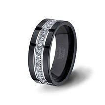 Men's Wedding Band Black Tungsten Ring Stacked with CZ - $399.99