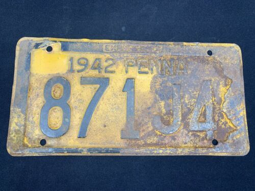 Primary image for Vintage 1942 Pennsylvania Auto License Plate Tag No 871J4