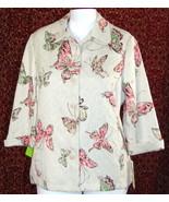 NWT ALFRED DUNNER beige butterflies jacket 14 (T39-02I8G) - $21.76