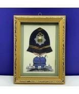 Framed art collage fiber United Kingdom England British vintage mcm poli... - $39.55