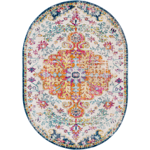 "Oval 7x10 (6'7"" x 9') Traditional Oriental Distressed Blue Area Rug - $229.00"